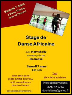 Stage dirigé par Mary Shelly  avec l'association Dounis Bena - Samedi 7 mars 2015